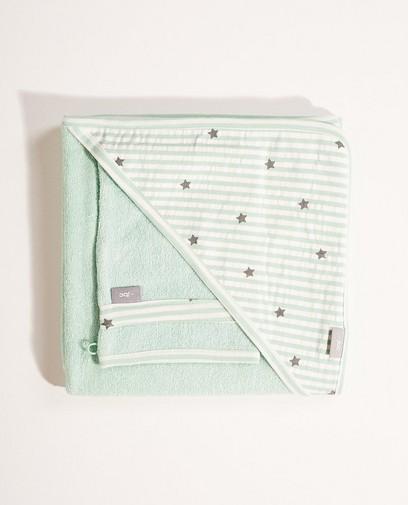 Cape de bain + gant verts