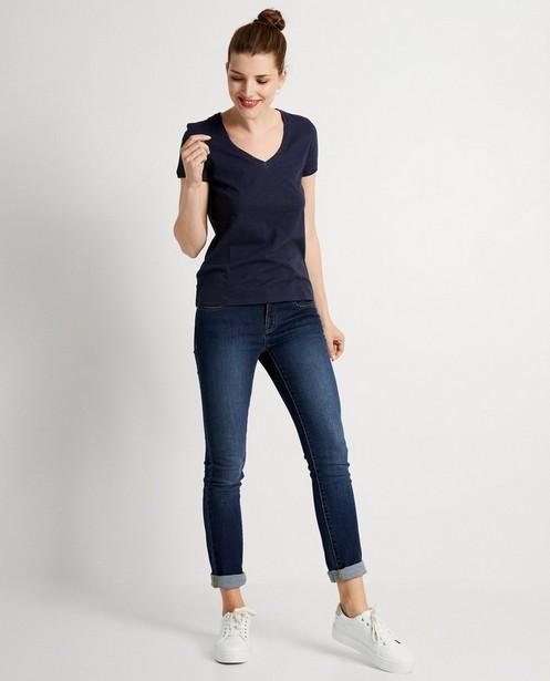 Donkerblauw T-shirt met glitter - metaaldraad - JBC