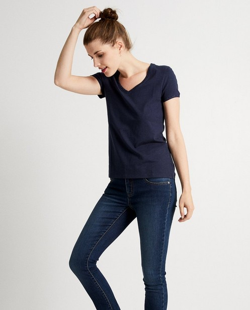 T-shirts - Donkerblauw T-shirt met glitter