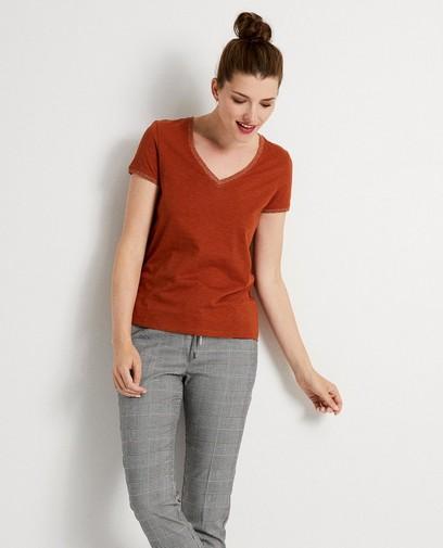 T-shirt orange à paillettes