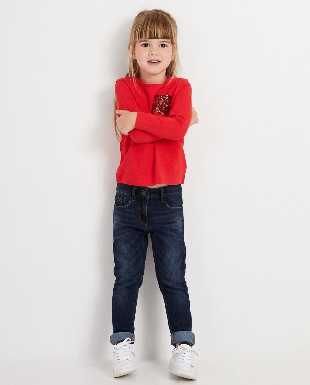 T-shirt bleu à manches longues - coton bio, à paillettes - JBC