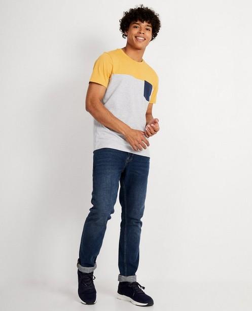 T-shirt gris avec color block - tricolore - JBC