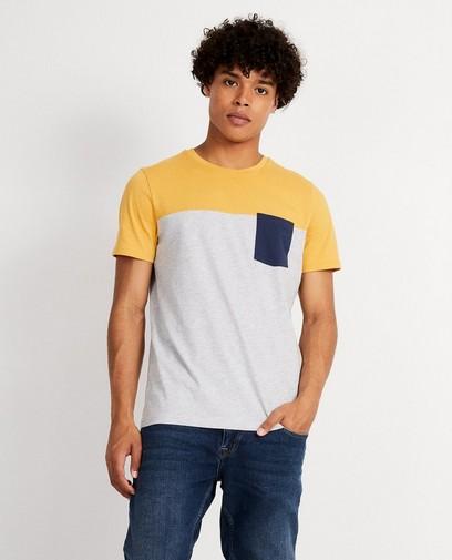 Grijs T-shirt met color block