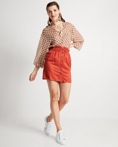 Terracotta rok - met paperbag waist - Sora