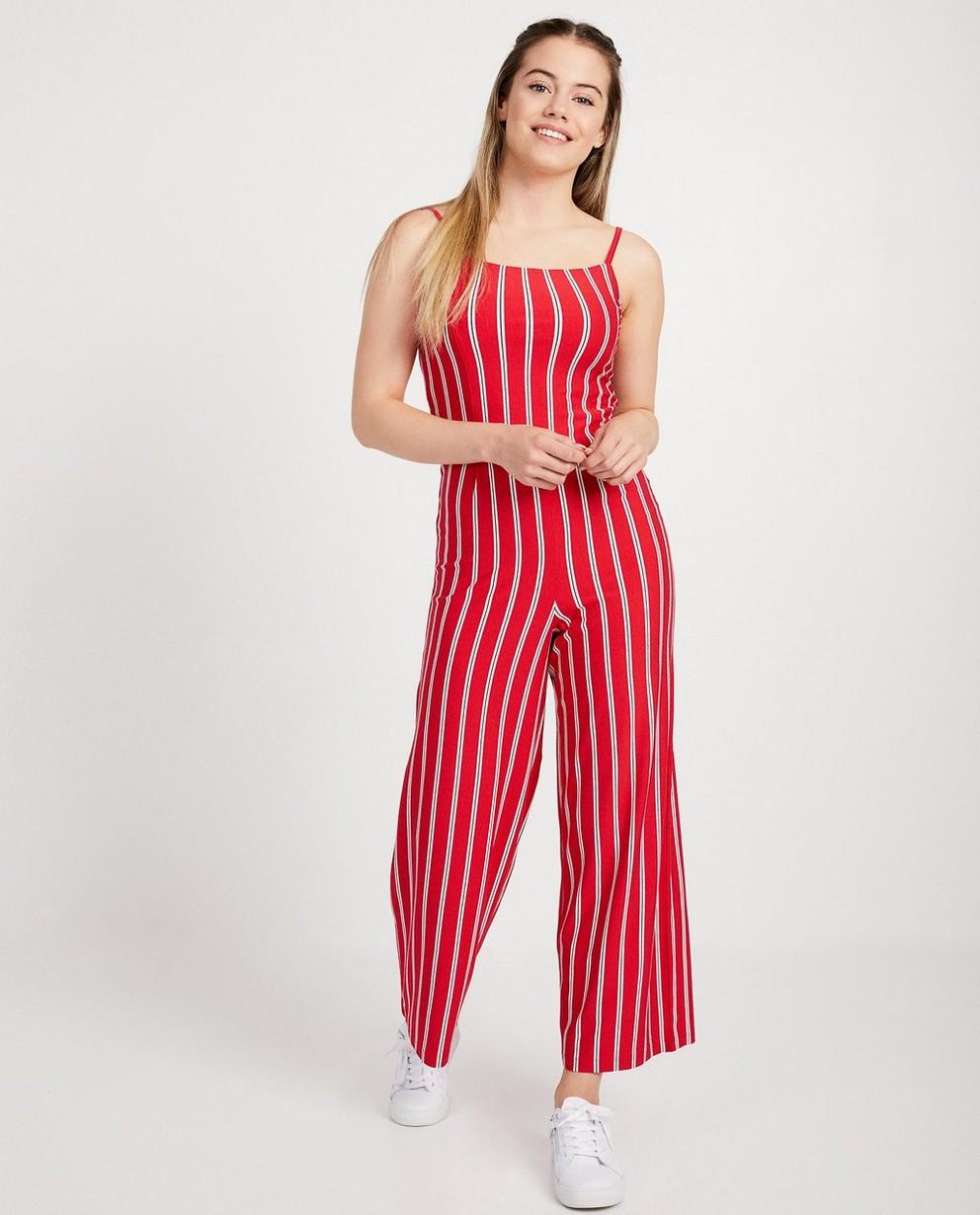 Roter Jumpsuit mit Streifen - aus Viskose - JBC