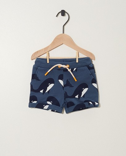 Short bleu, imprimé de baleines