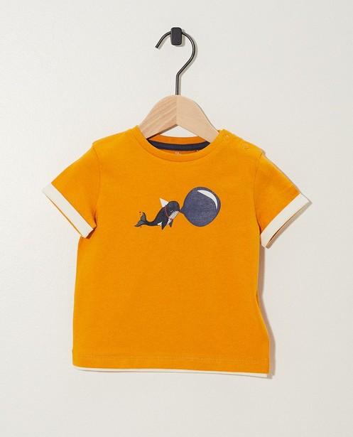 T-shirt jaune, imprimé de baleines - avec petit chapeau festif - JBC