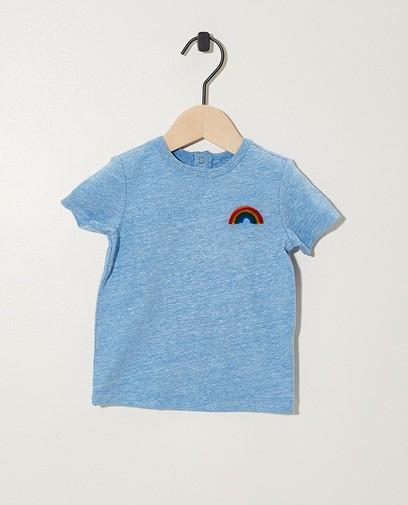 Blauw T-shirtje met regenboog