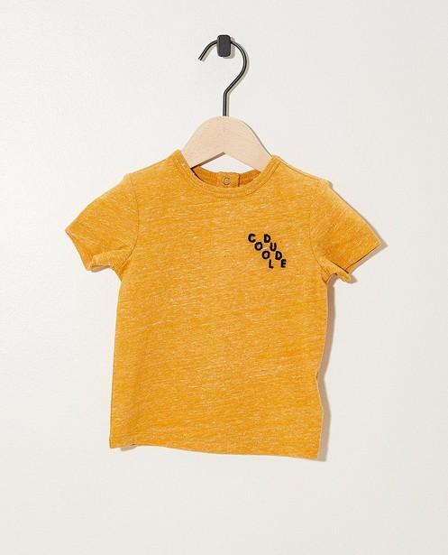 Okergeel T-shirtje met opschrift - gemêleerd - JBC