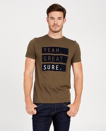 T-shirt kaki à inscription
