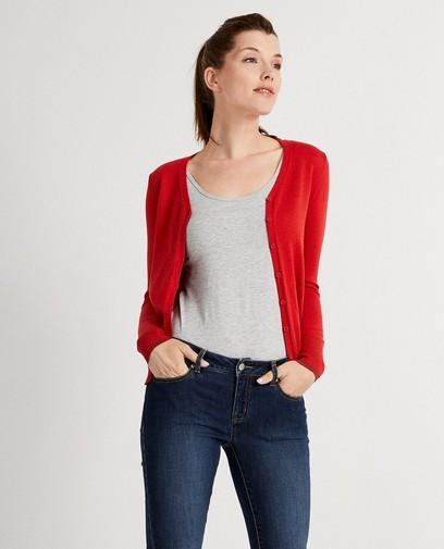 Cardigan rouge, bord à paillettes