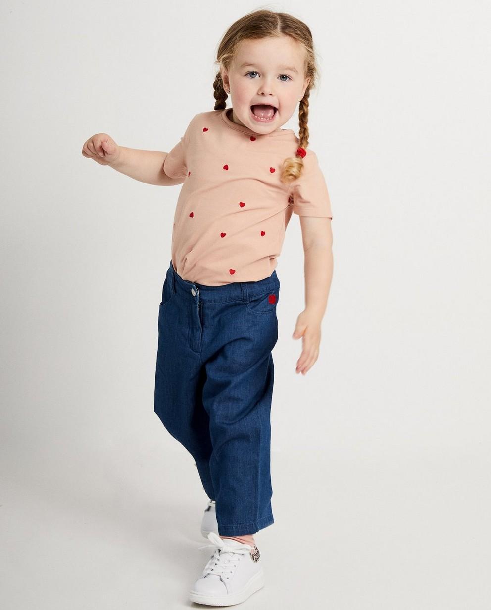 Pantalon bleu en denim - avec un petit cœur - JBC