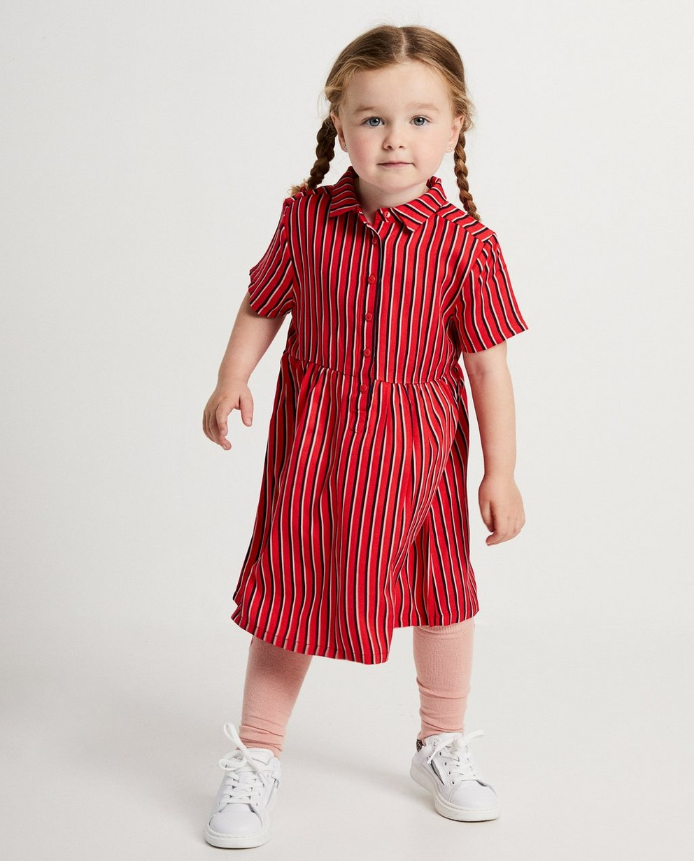 Robe rouge rayée - viscose - JBC