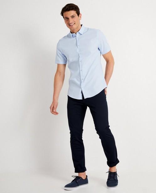 Chemise bleu clair, imprimé blanc - à manches courtes - Iveo