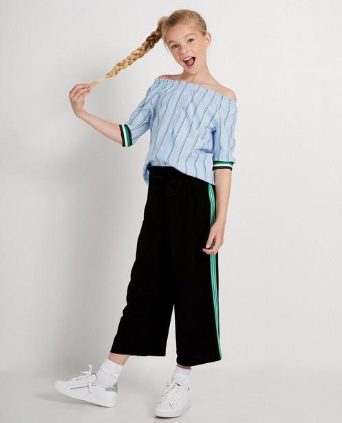 Pantalon noir, bande sportive - verte - JBC
