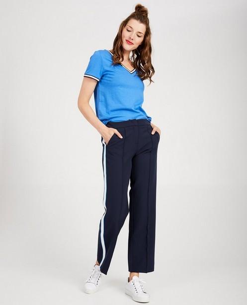 Pantalon bleu habillé Sora - rayure blanche - YOUH!