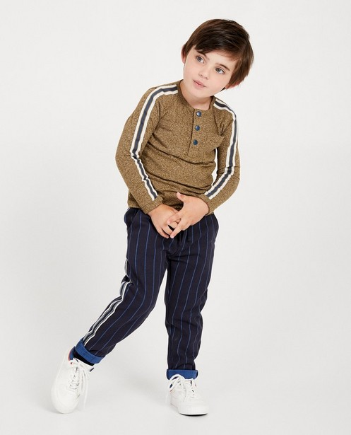 T-shirt bleu à longues manches - en coton bio chiné - JBC