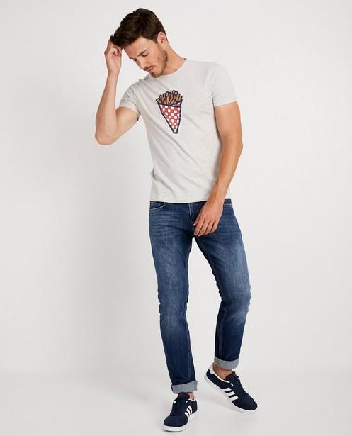 T-shirt gris, imprimé de frites (FR) - Twinning shirt - JBC