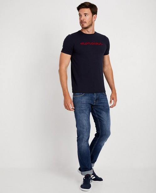 T-shirt bleu marine à inscription - Twinning shirt - JBC