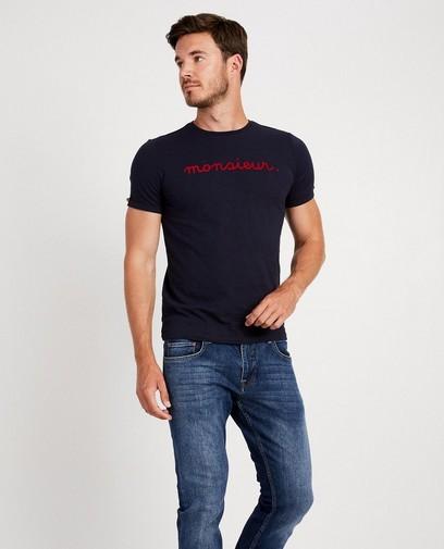 Marineblauw T-shirt met opschrift