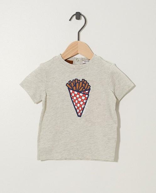 T-shirt gris, imprimé de frites (NL) - Twinning t-shirt - JBC