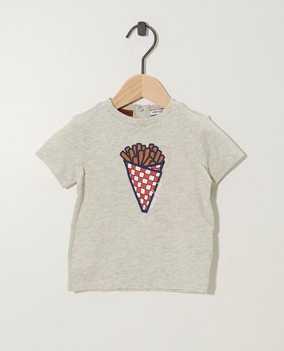 T-shirt gris, imprimé de frites (NL)