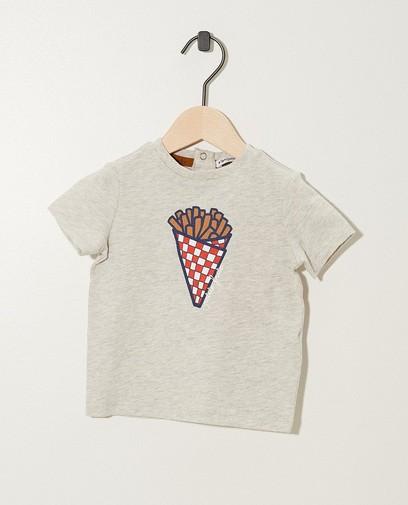 T-shirt gris, imprimé de frites (FR)