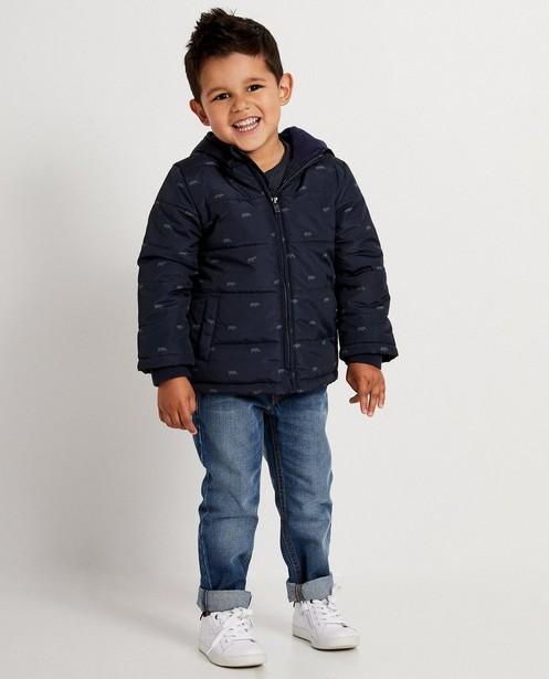 Waterafstotende donkerblauwe jas - met neushoornprint - JBC