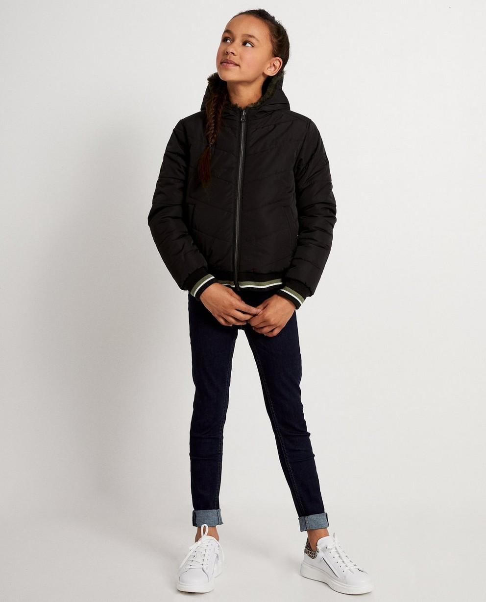 Kakigroene - zwarte omkeerbare jas - faux fur - JBC