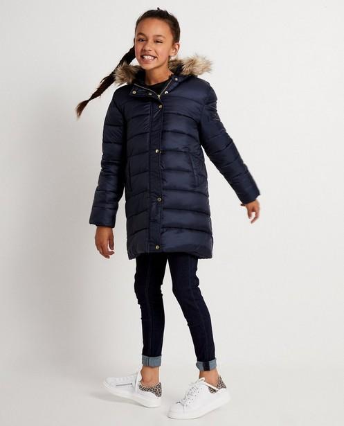 Donkerblauwe jas met faux-fur kap - met stiksel - JBC
