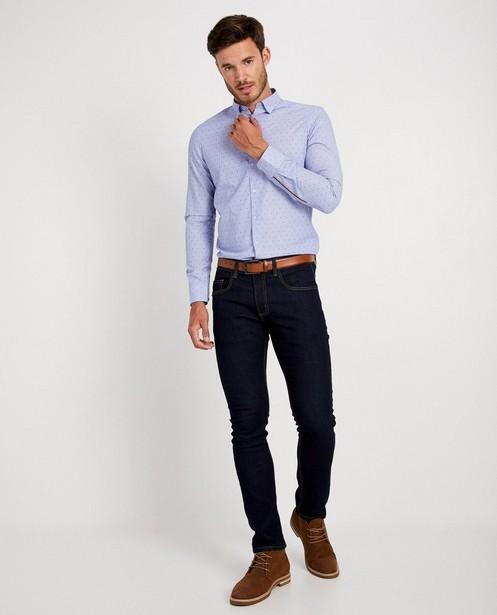 Blauw hemd met print - strepen en stippen - Iveo