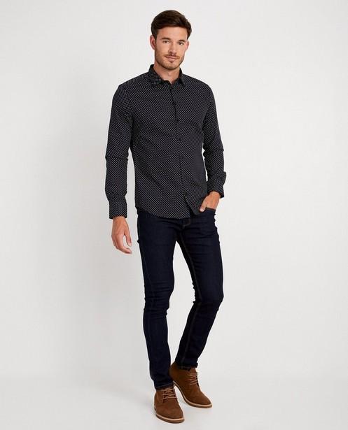 Marineblauw hemd met print - vierkantjes - Iveo