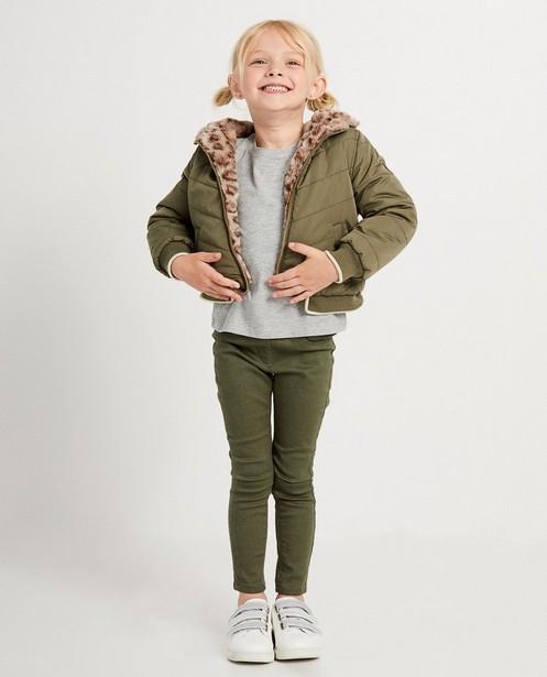 Groen omkeerbaar jasje met pels - nepbont - JBC