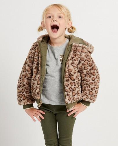 Groen omkeerbaar jasje met pels