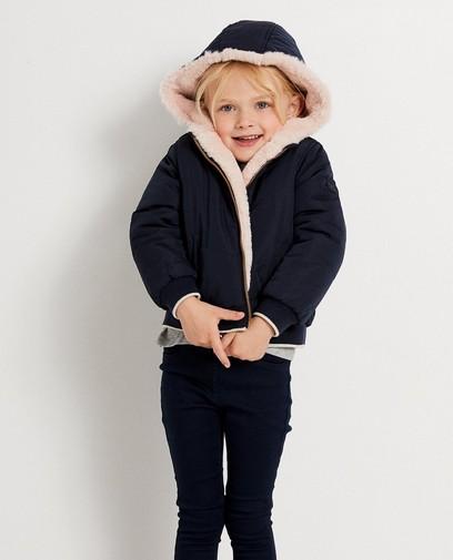 Roze - donkerblauwe omkeerbare jas