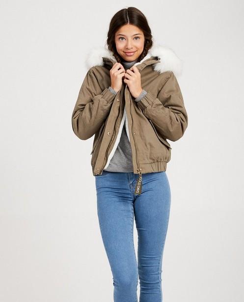 Parka's - GNM - Groene jas met witte pels