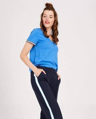 Blauw T-shirt met V-hals Sora