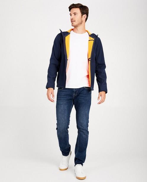 Blauwe softshell jas - met oranje voering - JBC