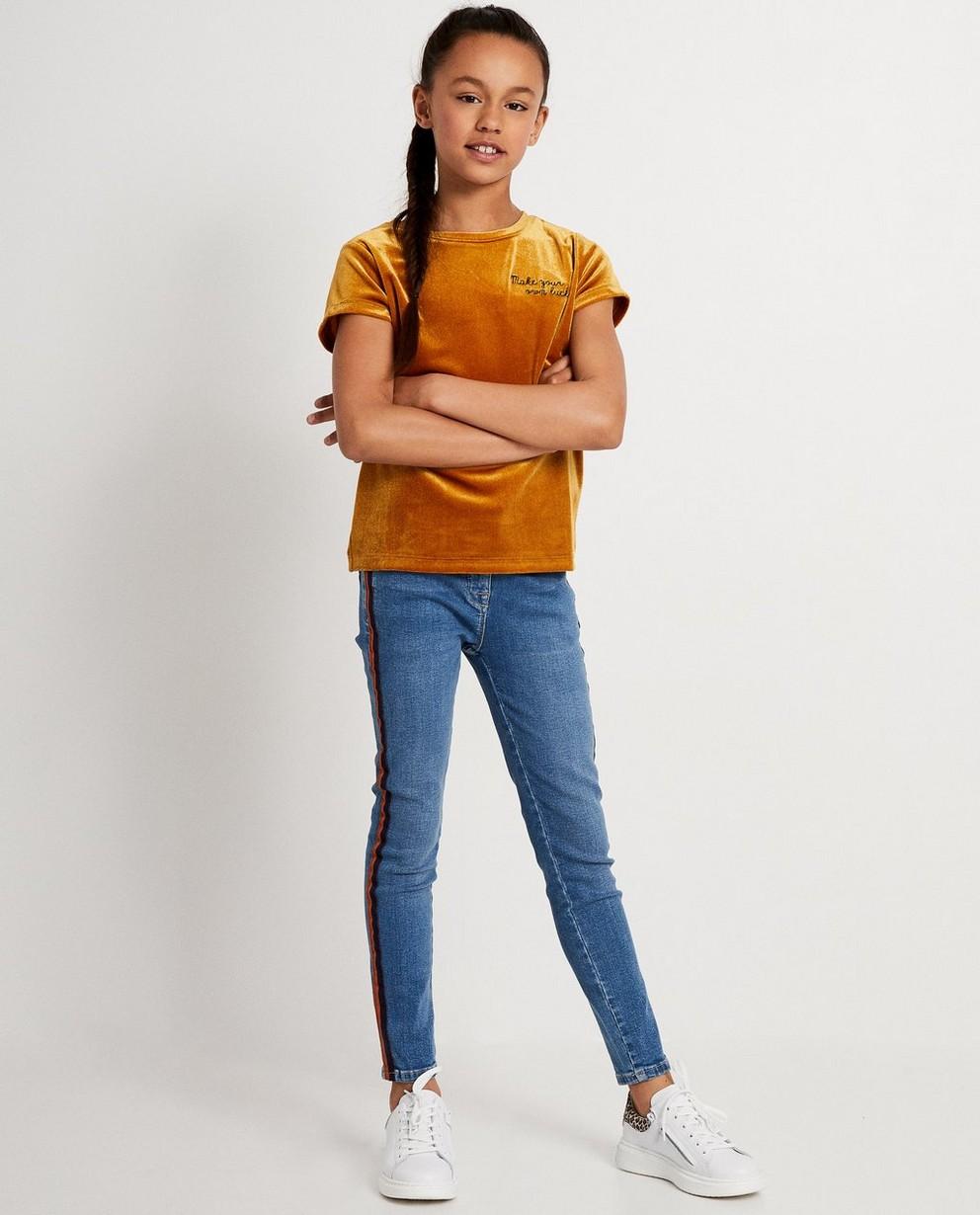 T-shirt brun orangé en velours - inscription - JBC