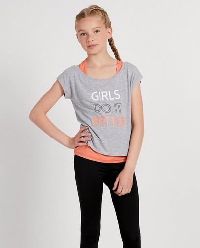 Set: grijs shirt met roze top