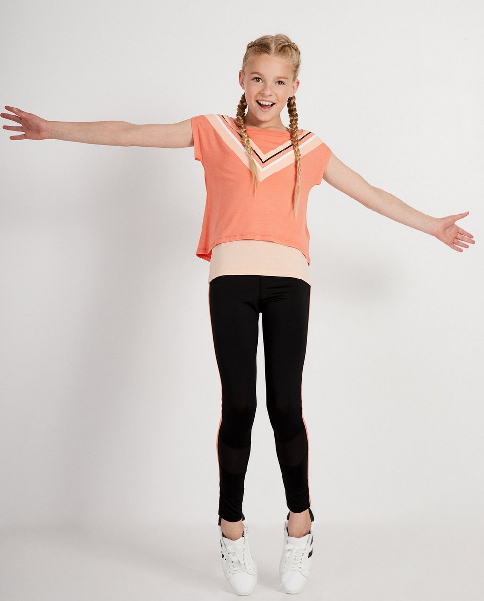 Set van sportief roze shirt en top - met color block - JBC