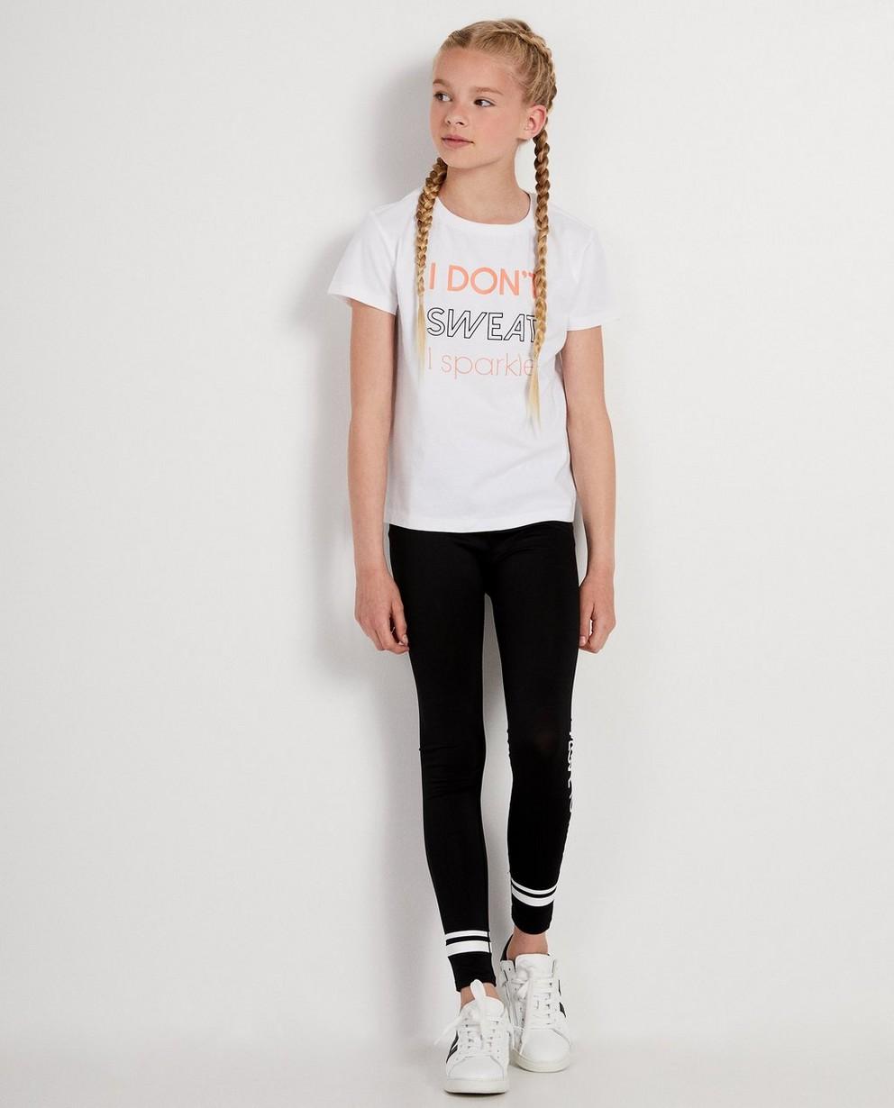 T-shirt blanc à inscription - rose et noire - JBC