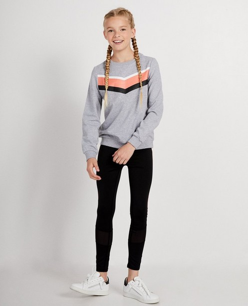 Grijze sweater met color block - in roze, wit en zwart - JBC
