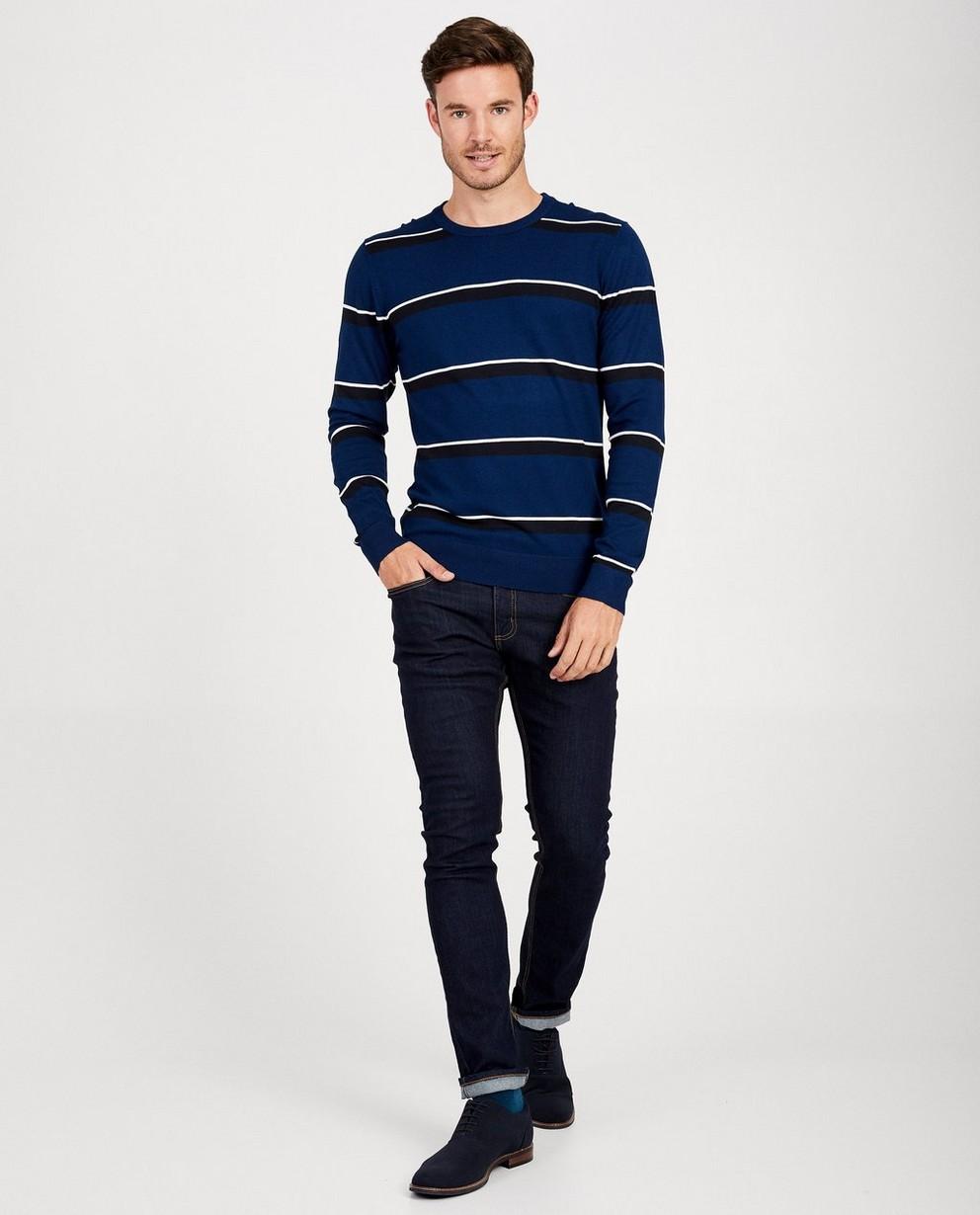 Pull bleu, rayures - noire et blanche - JBC