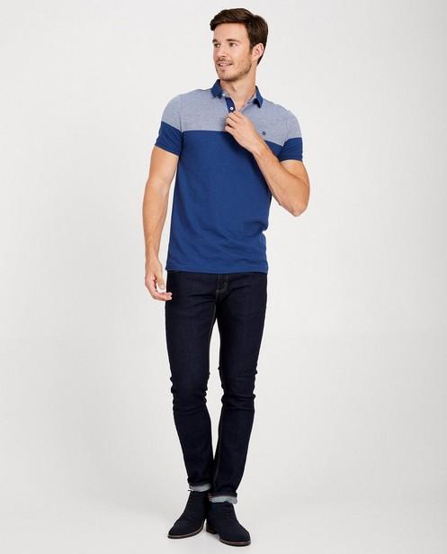 Polo bleu, imprimé blanc - aux épaules - JBC
