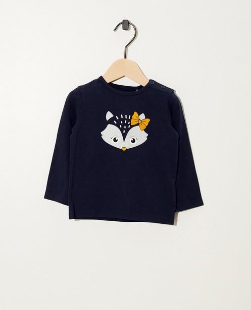 T-shirt bleu à manches longues - coton bio, imprimé - JBC