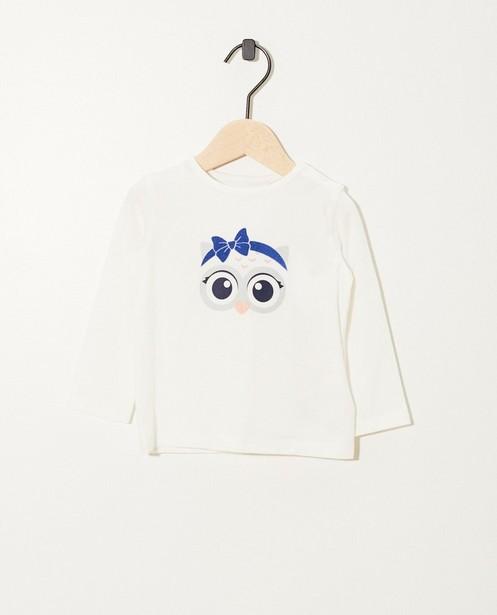 T-shirt blanc à manches longues - coton bio, imprimé - JBC