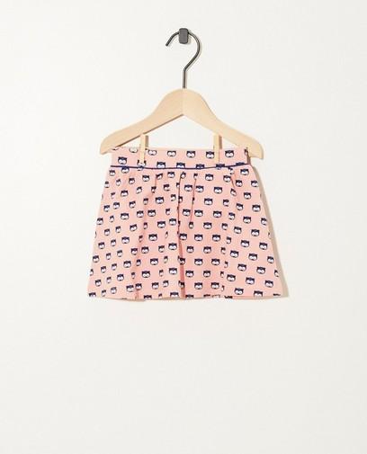 Roze rok met print van biokatoen