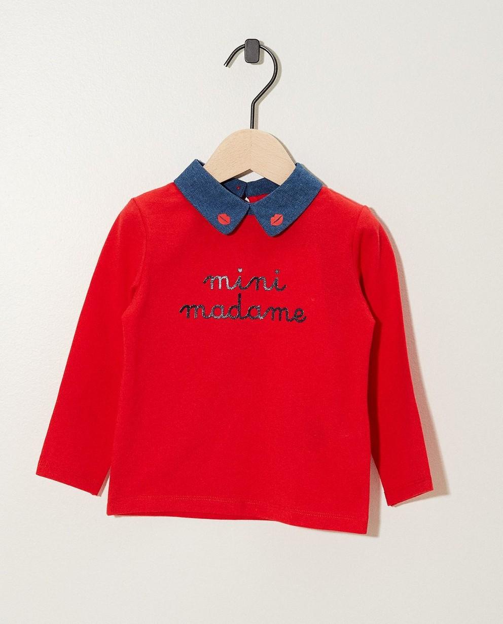 T-shirt bleu à manches longues - inscription et petit col - JBC