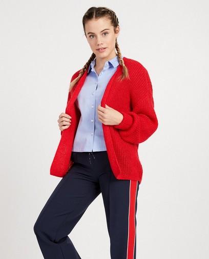 Cardigan rouge en mohair